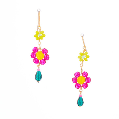 Hawaiian Flower Colorful Crystal Wire-wrapped Gold-Plated Earrings / HFE G B20-M1