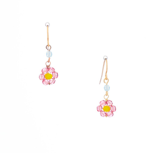 Hawaiian Flower Colorful Crystal Wire-wrapped Gold-Plated Earrings / HFE G B7-M1