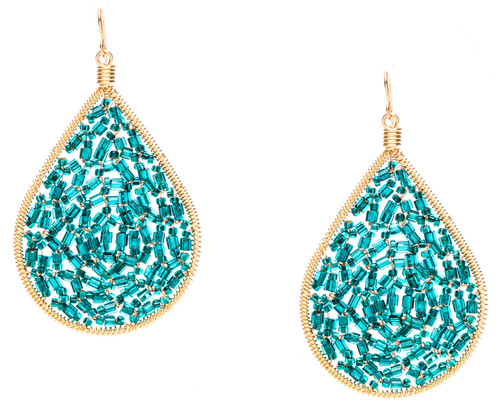 Ipamema Earrings - Tear drop earrings with emerald fire polish crystals and emerald seed beads in gold plate finish. Surgical steel earwire.