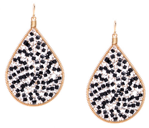 Ipamema Earrings - Tear drop earrings with onyx fire polish crystals and transparent seed beads in gold plate finish. Surgical steel earwire.