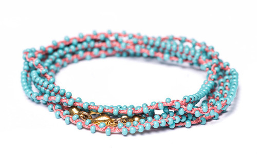 """32"""" double braided coral silk thread necklace with turquoise seed beads and gold plated clasp."""