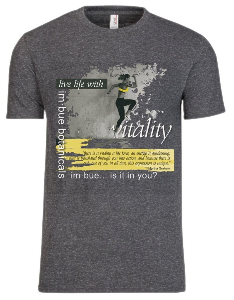 vitality t-shirt - heather dark grey with custom yellow design