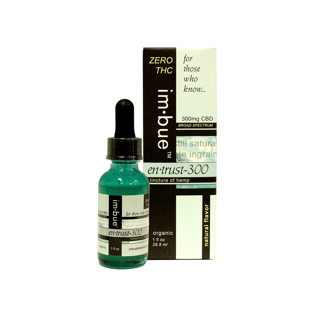 im·bue™ en·trust-300 ZERO THC - 300mg/oz CBD broad spectrum tincture of hemp - 1 fl oz.