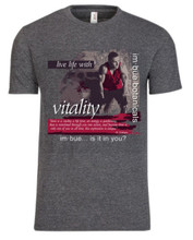 vitality t-shirt - heather dark grey with custom red design