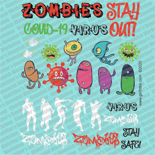 GRAFF003 ZOMBIES & VIRUS GRAFFITI DECAL