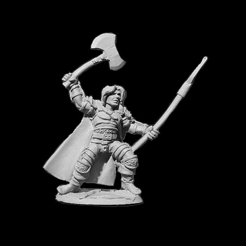 LL03075 Warrior w/ Axe & Spear