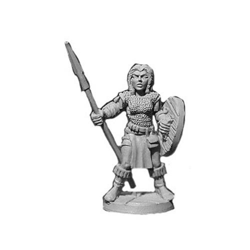 LL03071B Female Warrior in Chain w/ Shield & Spear