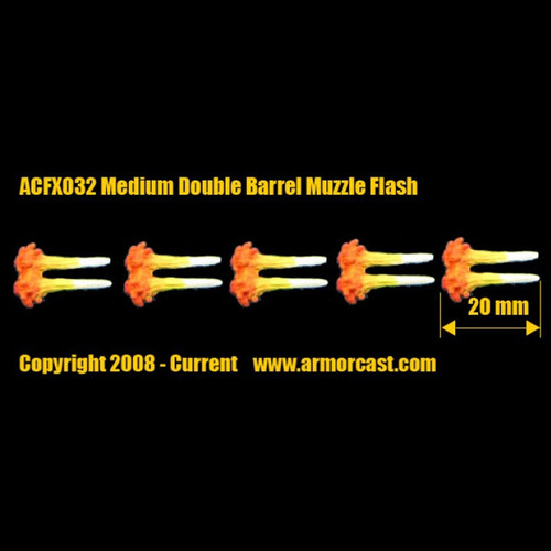 ACFX032 Medium Double Barrel Muzzle Flashes (5 pcs)