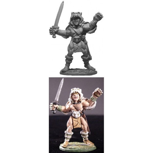 Barbarian Berserker w/ Animal Skin Cloak.  Model sculpted in 28 mm scale and supplied unpainted and unassembled.  Cast in lead free pewter.  Sculpted by Jim Johnson.