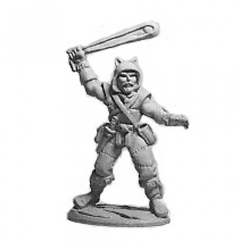 Male Thief with Sling and Wolf Pelt.  Cast in leadless pewter.  Sculpted by Jim Johnson in 28mm heroic scale and the model is supplied unpainted.