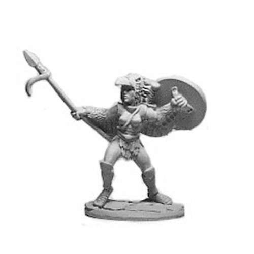 Female Eagle Aspect Warrioress with a spear and shield  Cast in leadless pewter.  Sculpted by Jim Johnson in 28mm heroic scale and the model is supplied unpainted.