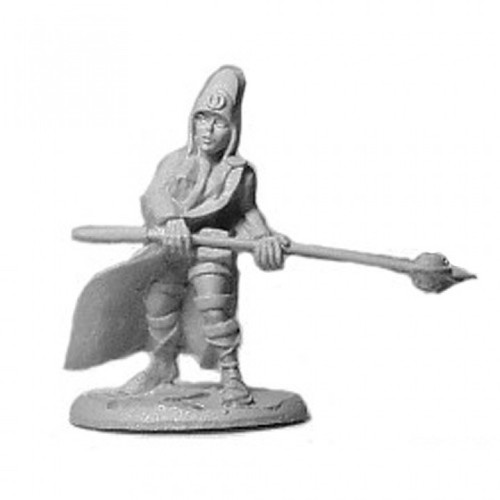 Female Cleric with staff mace (or two handed mace), robes and headdress  Cast in leadless pewter.  Sculpted by Jim Johnson in 28mm heroic scale and the model is supplied unpainted.