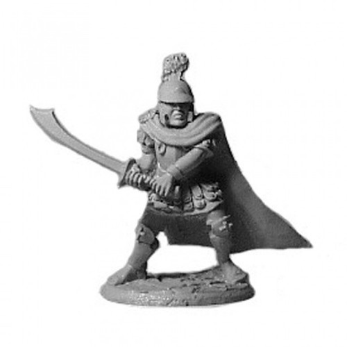 Centurion with a scimitar, scalemale and a great crested helm.  Cast in leadless pewter.  Sculpted by Jim Johnson in 28mm heroic scale and the model is supplied unpainted.