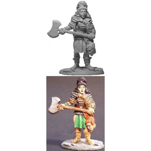 The Viking Warrioress w/ Axe is sculpted by Jim Johnson in 28mm heroic scale and the model is supplied unpainted.