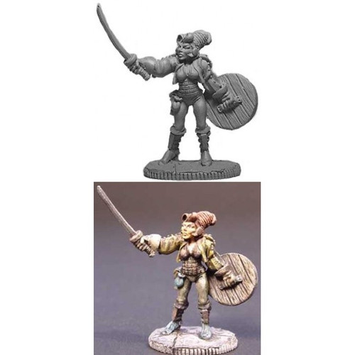 The Female Swashbukler is sculpted by Jim Johnson in 28mm heroic scale and the model is supplied unpainted.