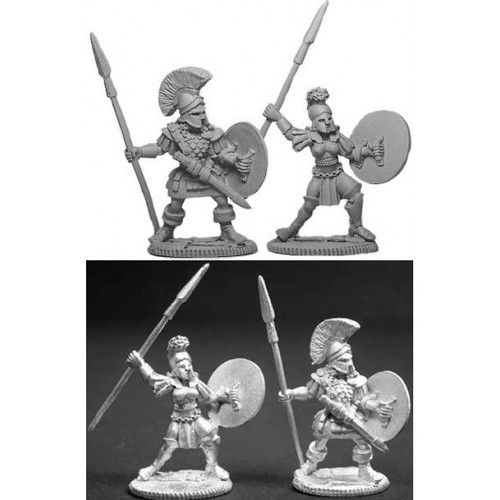 Two Greek Hoplite Warriors, one male and one female miniature are sculpted by Jim Johnson in 28mm heroic scale and the models are supplied unpainted.