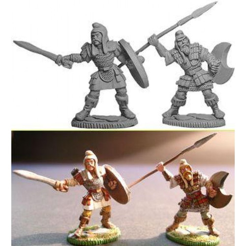 Two Celtic Warriors are cast in lead free pewter.   Model sculpted in 28 mm scale and supplied unpainted and unassembled.  Sculpted by Jim Johnson