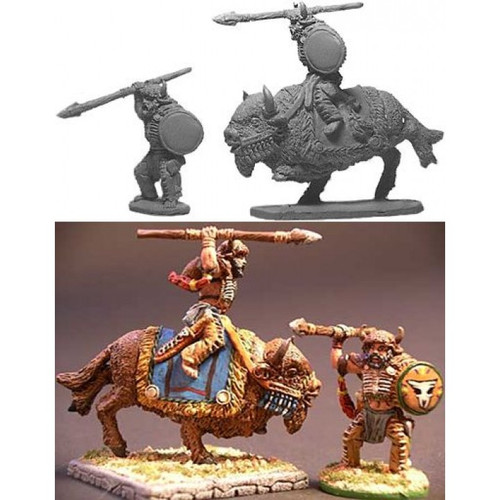 Two Barbarian Bison Warriors - one mounted and the other on foot.   Model sculpted in 28 mm scale and supplied unpainted and unassembled.  Cast in lead free pewter.  Sculpted by Kevin Contos
