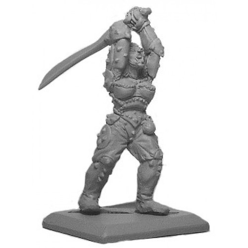 Female Half Orc fighter with heavy armor and two-handed sword. Sculpted in 28mm heroic scale by Clint Staples.