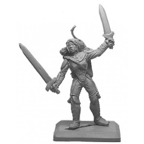 Female ranger with a two-handed fighting style and a bow. Sculpted in 28mm heroic scale by Clint Staples.