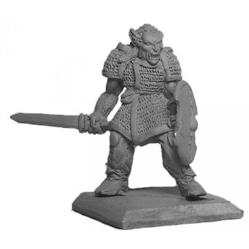 Male Half Orc fighter with heavy armor and a broad sword. Sculpted in 28mm heroic scale by Clint Staples.