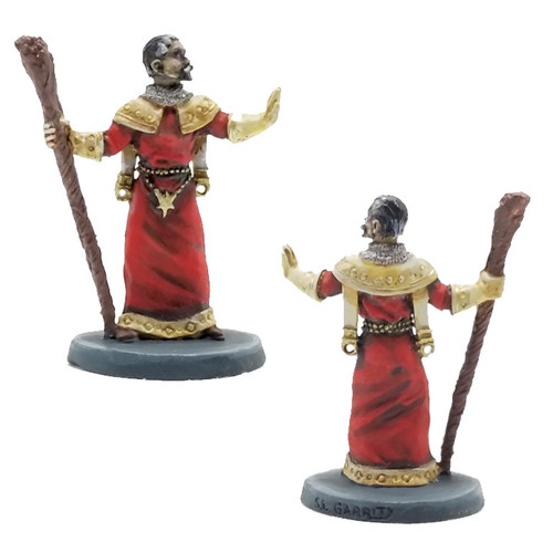 This is a Priest or Cleric in vesements with a staff. He is posed in such a way he is either casting a spell or turning undead.  Model sculpted in 28 mm scale and supplied unpainted.  Sculpted by Sandra Garrity.