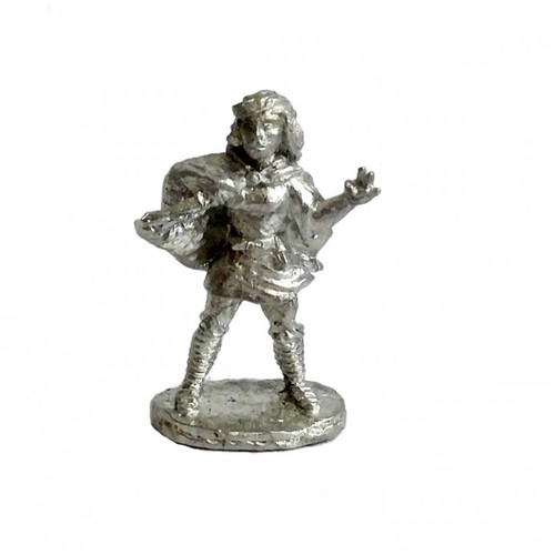 "The female Rogue Mage is brandishing a knife and preparing to cast her signature spell ""The Shocker"". The model is sculpted in 25mm scale and supplied unpainted in leadless pewter."