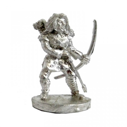 The Female Archer is readying her bow. The model is sculpted in 25mm scale and supplied unpainted in leadless pewter.