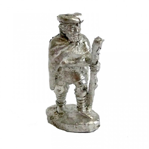 The traveling Bard with book of songs and tales using a walking stick. The model is sculpted in 25mm scale and supplied unpainted in leadless pewter.