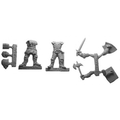 Battle Knights are a multi-piece customizable miniatures with your choice of weapon arms and heads.  Model sculpted in 28 mm scale and supplied unpainted and unassembled.  Cast in lead free pewter.  Sculpted by Sandra Garrity.