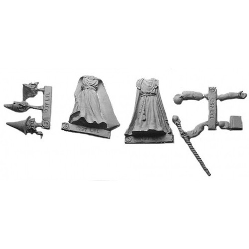 Master Wizards are a multi-piece customizable miniatures with your choice of arms and heads. Cast in 28mm scale lead free pewter and sculpted by Sandra Garrity.