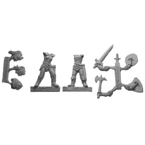 Women Of War are a multi-piece customizable miniatures with your choice of weapon arms and heads. Cast in 28mm scale lead free pewter and sculpted by Sandra Garrity.