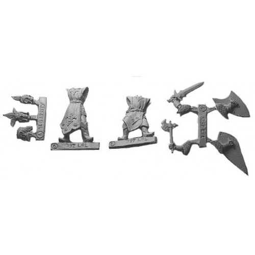 Elven Lord & Champion are a multi-piece customizable miniatures with your choice of weapon arms and heads. Cast in 28mm scale lead free pewter and sculpted by Sandra Garrity.