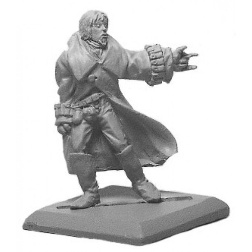 Male sorceror casting a spell. Sculpted in 28mm heroic scale by Clint Staples.
