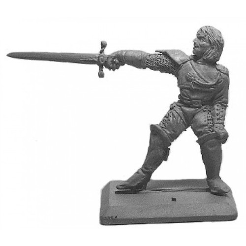 Male swashbuckler with light armor and a longsword. Sculpted in 28mm heroic scale by Clint Staples.