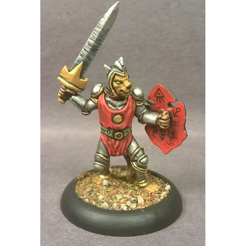 The Feline Knight is armed with a sword, shield and plate armor. The heroic knight defends the pride with the best weapons his pride can make.Cast in leadless pewter in Heroic 28mm scale. Sold unassembled and unpainted. Supplied with a 25mm round slotta base.