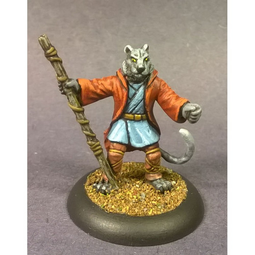 The Feline Cleric is armed with a staff, lrobes and his holy wrath. The Feline Cleric roars out his fiery sermons of faith to the pride.  Cast in leadless pewter in Heroic 28mm scale. Sold unassembled and unpainted. Supplied with a 25mm round slotta base.