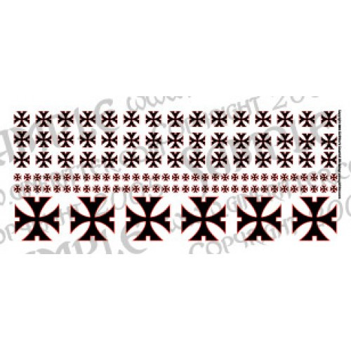 WARCRO012 Demi-Sarcelled Cross in Black with Red Trim