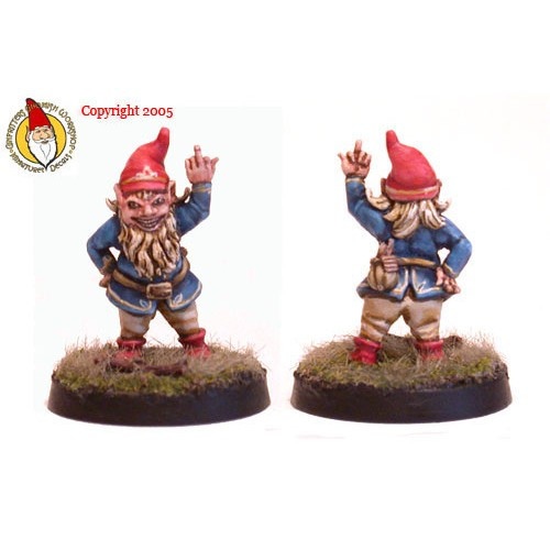 """Meet Rhuud E. """"The Flippin"""" Gnome. Rhuud E. is not shy when he wants to tell someone how he really feels about you. You want to tell your DM how you feel about is gaming style, ask Rhuud E. to show him. You need a complaint department mananger? Have Rhuud E. take care of all of those pesky customers. He is also equiped with his Bag 'O Tricks laden with pyrotechnics to really warm things up."""