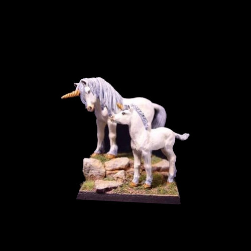 LL00203 Unicorn Mare & Foal mounted on a scenic base - not supplied with this product. This is only shown as an example as to what can be done with the miniature.
