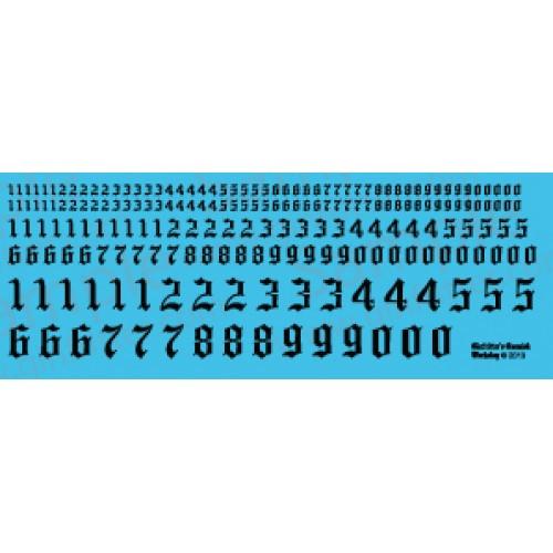 NUM006 Gothic Numerals 0 - 9 Decal