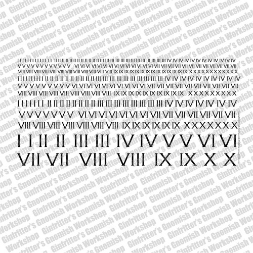 Roman Numeral I - X Decal