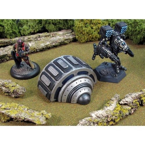 A new range of sci-fi structures from Armorcast. This design can be used as a megalithic power generator in 6mm scale or a useful detail in a 28mm scene. Two generators are supplied in this kit.  A Licensed Hirst Arts Product and modeled by Choppy's Workshop.  These models are scale independent and can be used from 6mm (1/285th scale) to 28mm Heroic scale. Miniatures are shown for scale and not included.  Cast in resin.  The two pieces are supplied unpainted and unassembled. The  The models can be used with the new Robotech game system as well as BattleTech.  Miniature tank only shown for scale and painted to show the finished product.