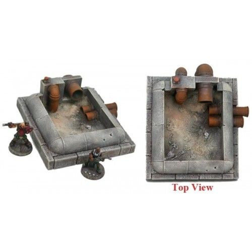 A drained sediment tank with dead bodies at the bottom, suitable for water effects gels. Two pieces cast in resin. Sold unpainted.  Made under license from Hirst Arts CastleMolds.  Terrain supplied unpainted and unassembled.