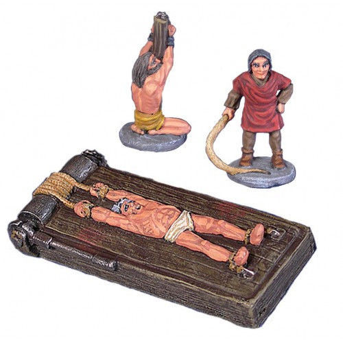 Dungeon decor for the torture chamber in 28mm scale. There is the torturer, a victim tied to a post and a victim on the rack. Great for any Fantasy or Witch Hunting game! The models are cast in leadless pewter and are supplied unpainted in 28mm scale.
