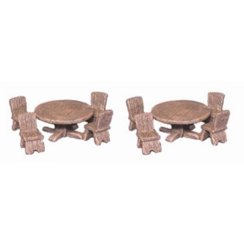 Two round wooden tables and eight wooden four leg chairs with backs. These pieces fit in fantasy villages, dungeons through wild west bar scenes to modern era bars and dimly lit back rooms.  This model works great with Armorcast Medieval Inn or Tavern, Hirst Arts Castle Mold projects and Dwarven Forge Dungeon Terrain.   This model is supplied in leadless pewter, unpainted in 28mm scale. Supplied unpainted and unassembled.