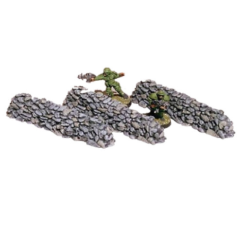 Random rock stone walls that can be used in any time period from Ancients through Post Apoc settings. The three walls are four inches long and roughly one inch in height providing hard cover.  Model sculpted in 28 mm scale and supplied unpainted and unassembled.  Cast in resin.