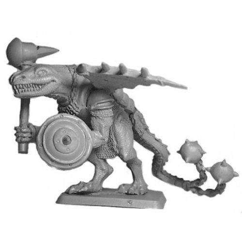 This Dragon Warrior is kitted out for action, armored wings with spikes, weilding a warhammer, and shield and a flail attached to its tail.  Cast in lead free pewter.  Model sculpted in 28 mm scale and supplied unpainted and unassembled.  Sculpted by Kevin Contos.  Model is supplied unpainted and cast in leadless pewter.
