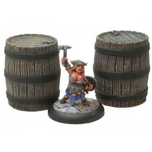"For those of you who have only a small thirst to quench, the ""Small"" Dwarven may fit the bill.  Cast in resin and supplied unpainted.  A licensed Hirst Arts product..  Terrain supplied unpainted. Miniatures only shown for scale."