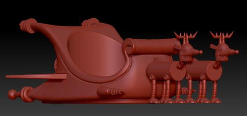 Space Sleigh w/ 2 Robo Reindeer